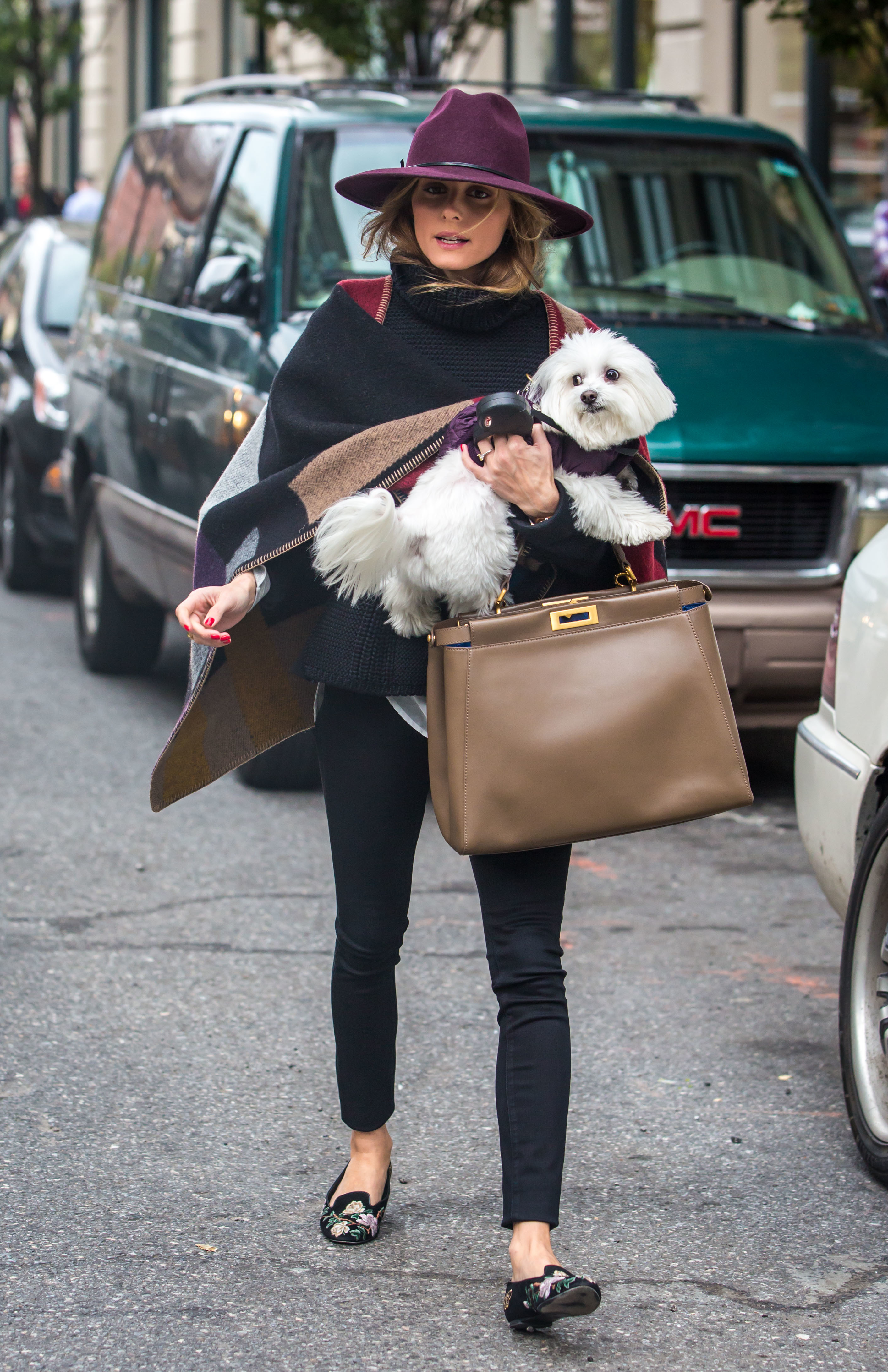 Olivia Palermo running errands in Brooklyn with her dog Mr. Butler